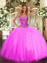 Floor Length Ball Gowns Sleeveless Fuchsia 15 Quinceanera Dress Lace Up