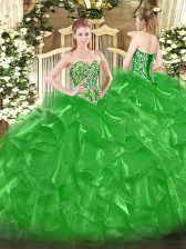 Sweetheart Sleeveless 15th Birthday Dress Floor Length Beading and Ruffles Green Organza