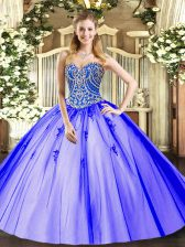Tulle Sweetheart Sleeveless Lace Up Beading and Appliques Vestidos de Quinceanera in Lavender