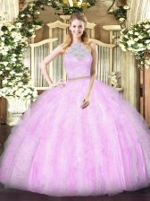 Tulle Scoop Sleeveless Zipper Lace and Ruffles Quinceanera Gown in Lilac