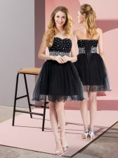Black Elastic Woven Satin and Tulle Lace Up Prom Gown Sleeveless Mini Length Beading