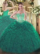 Turquoise Sleeveless Floor Length Beading and Ruffles Lace Up Ball Gown Prom Dress