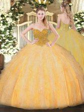 Orange Sweetheart Lace Up Beading and Ruffles Sweet 16 Dress Sleeveless
