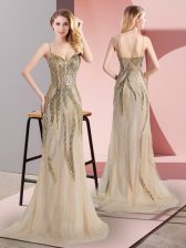 Excellent Tulle Spaghetti Straps Sleeveless Sweep Train Side Zipper Beading Evening Dress in Champagne