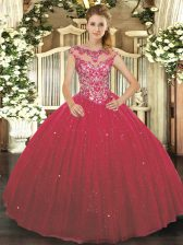 Wine Red Ball Gowns Tulle Scoop Cap Sleeves Beading and Appliques Floor Length Lace Up Quince Ball Gowns