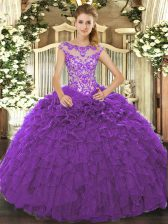 Cap Sleeves Lace Up Floor Length Beading and Ruffles and Hand Made Flower Quinceanera Gowns
