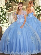 Nice Light Blue Lace Up Strapless Beading and Appliques Quince Ball Gowns Tulle Sleeveless
