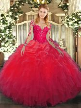 Comfortable Lace and Ruffles Quince Ball Gowns Red Lace Up Long Sleeves Floor Length