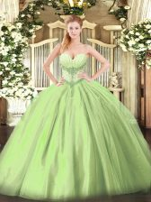 Sweet Beading Sweet 16 Dress Yellow Green Lace Up Sleeveless Floor Length