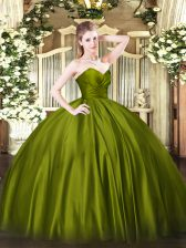 Olive Green Organza Zipper Sweetheart Sleeveless Floor Length Sweet 16 Dress Ruching