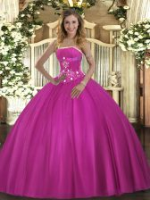 Glamorous Floor Length Ball Gowns Sleeveless Fuchsia Ball Gown Prom Dress Lace Up