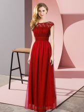 Fine Wine Red Empire Chiffon Strapless Sleeveless Lace Floor Length Zipper Homecoming Dress
