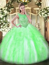 Fantastic Sleeveless Beading and Ruffles Floor Length Quinceanera Dresses