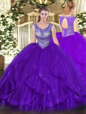 Vintage Sleeveless Organza Floor Length Lace Up Ball Gown Prom Dress in Eggplant Purple with Beading and Ruffles