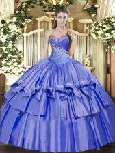 Unique Blue Lace Up Sweetheart Beading and Ruffled Layers Sweet 16 Dress Organza and Taffeta Sleeveless