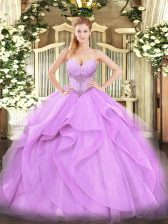 Designer Floor Length Lace Up Sweet 16 Quinceanera Dress Lavender for Military Ball and Sweet 16 and Quinceanera with Beading and Ruffles