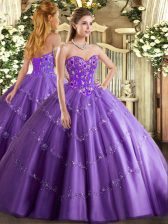 Sleeveless Lace Up Floor Length Appliques and Embroidery Sweet 16 Dresses