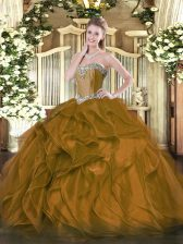 Amazing Sweetheart Sleeveless Lace Up Quinceanera Dresses Brown Organza
