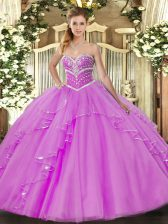 Vintage Sweetheart Sleeveless Tulle Vestidos de Quinceanera Beading and Ruffles Lace Up