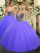 Suitable Floor Length Lace Up Quinceanera Dresses Lavender for Military Ball and Sweet 16 and Quinceanera with Beading