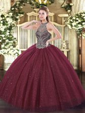 Sweet Burgundy Ball Gowns Beading Quinceanera Dresses Lace Up Tulle Sleeveless Floor Length