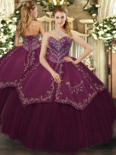 Burgundy Taffeta and Tulle Lace Up Sweetheart Sleeveless Floor Length Quince Ball Gowns Beading and Pattern