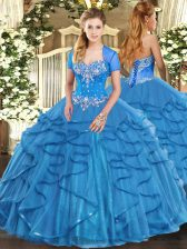 Low Price Tulle Sleeveless Floor Length Quinceanera Gown and Beading and Ruffles