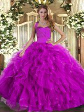 Fuchsia Sleeveless Ruffles Floor Length 15th Birthday Dress