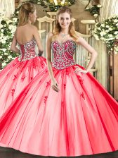 Coral Red Sweetheart Lace Up Beading and Appliques Quinceanera Dresses Sleeveless