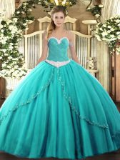 Fantastic Turquoise Ball Gowns Tulle Sweetheart Sleeveless Appliques Lace Up Quince Ball Gowns Brush Train