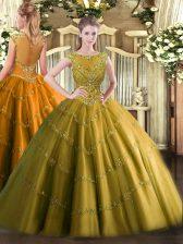 Captivating Brown Scoop Zipper Beading and Appliques Vestidos de Quinceanera Sleeveless