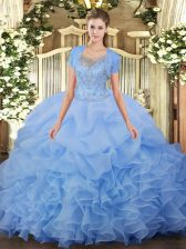 Aqua Blue Scoop Clasp Handle Beading and Ruffled Layers Quince Ball Gowns Sleeveless
