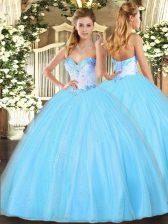 Aqua Blue Tulle Lace Up Quince Ball Gowns Sleeveless Floor Length Beading