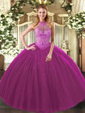 Fine Fuchsia Sleeveless Tulle Lace Up 15 Quinceanera Dress for Sweet 16 and Quinceanera