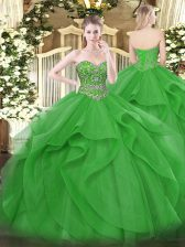 Sleeveless Tulle Floor Length Lace Up Sweet 16 Quinceanera Dress in Green with Beading and Ruffles
