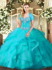 Adorable Sleeveless Floor Length Beading and Ruffles Lace Up Sweet 16 Dress with Aqua Blue