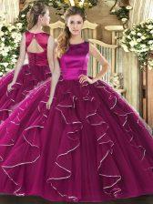 Admirable Fuchsia Sleeveless Floor Length Ruffles Lace Up Sweet 16 Dress