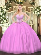 Lilac Lace Up Ball Gown Prom Dress Beading Sleeveless Floor Length