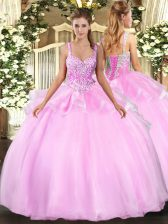 Straps Sleeveless Sweet 16 Dress Floor Length Beading Pink Organza
