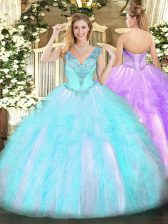 Top Selling Aqua Blue Ball Gowns Organza V-neck Sleeveless Beading and Ruffles Floor Length Lace Up Sweet 16 Dress