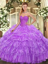 Eye-catching Lavender Lace Up Quince Ball Gowns Beading and Ruffled Layers and Pick Ups Sleeveless Floor Length