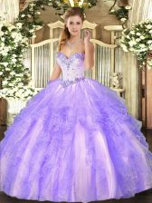 Customized Lavender Sleeveless Floor Length Beading and Ruffles Lace Up Quince Ball Gowns