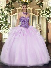 Dynamic Lavender Sweetheart Zipper Beading and Ruffles Sweet 16 Dresses Sleeveless