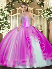 Luxury Ball Gowns 15 Quinceanera Dress Fuchsia Sweetheart Tulle Sleeveless Floor Length Lace Up