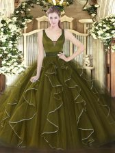 Olive Green Straps Zipper Beading and Ruffles Quince Ball Gowns Sleeveless
