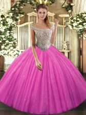 Enchanting Lace Up Quinceanera Gowns Hot Pink for Sweet 16 and Quinceanera with Beading