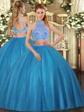 Halter Top Sleeveless Tulle Sweet 16 Dress Beading Criss Cross