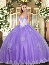 Suitable Lavender Sweetheart Neckline Beading and Appliques Sweet 16 Quinceanera Dress Sleeveless Lace Up