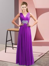 Glorious Purple Side Zipper V-neck Beading and Ruching Prom Evening Gown Chiffon Sleeveless
