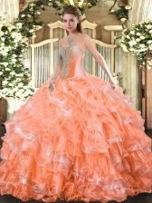 Inexpensive Organza Sleeveless Floor Length Quince Ball Gowns and Beading and Ruffled Layers